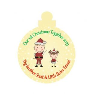 1st Christmas Together Big Brother Little Sister Acrylic Christmas Ornament Decoration